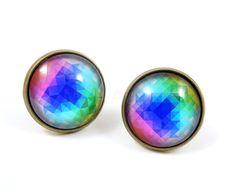 Rainbow Kaleidoscope Earring Studs Bronze Color by MistyAurora, $15.00