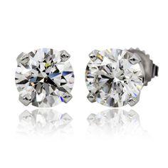 Women Real Diamond Stud Earrings 14K White Gold 1.40 Carat H VS2 Round Shape…