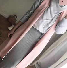 hiijab style gris & rose white