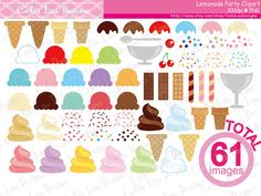 Ice cream Digital Clipart set includes 61 cute graphics. You can create your own ice-cream by these images! (cg227) [Details] ‧This is a digital download products ‧Saved in PNG format (individual PNG with transparent backgrounds) at High Resolution 300 dpi (each graphics largest