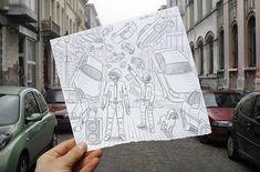 Lápis versus Câmera: um criativo projeto de Ben Heine - Conheça o projeto Pencil vs. Camera, de Ben Heine. Por cima de diversas fotografias, o artista insere ilustrações que completam o contexto da imagem, criando situações criativas e divertidas.
