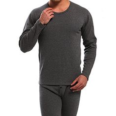 New Step Mens Double Layer Thicken Thermal Underwear Top  Bottom Set Fleece Lined Gray SizeLarge * Learn more by visiting the image link.