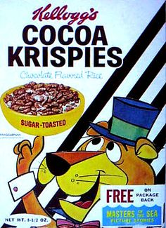 That's the character Snagglepuss on a 1963 box of Kellogg's Cocoa Krispies. Retro Advertising, Vintage Advertisements, Vintage Ads, Vintage Food, Cereal Milk, Cereal Boxes, 1960s Food, Cocoa Krispies, Flavored Rice