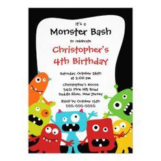 CUTE Little Monster Bash Birthday Party Custom Invitation