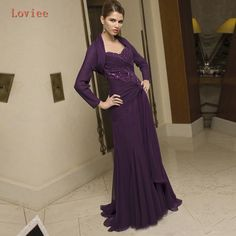 2017 New Plus Size Purple Chiffon Floor Length Mother of the Bride Dresses with Jacket Mother Formal Wear