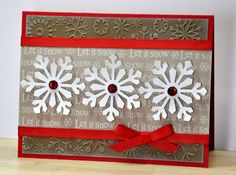 "card: ""Gingerbread Snowflakes"" = perfect title for the snowflake embossed background ..."