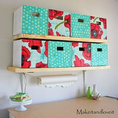 Any size fabric boxes for little stuff. Build shelves around boxes instead of the other way around.