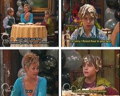 Do you miss the old Disney Channel? Do you miss the days when Wizards of Waverly Place was on TV? And we also totally miss Zack and. Hotel Zack Und Cody, Zack Et Cody, Zack And Cody Funny, Disney Pixar, Disney Memes, Disney And Dreamworks, Disney Facts, Sprouse Bros, Dylan Sprouse