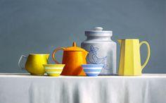 "Gallery Henoch - Janet Rickus, Still Life w/ Perching Bird, Oil on Panel, 15"" x 24"""