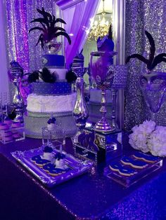 Sparkly masquerade Quinceañera party! See more party planning ideas at CatchMyParty.com!