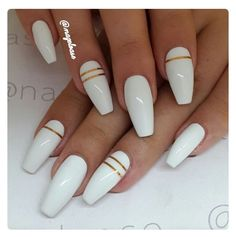 you should stay updated with latest nail art designs, nail colors, acrylic nails, coffin… - long nails White Acrylic Nails, White Nail Art, White Nails With Gold, White Coffin Nails, White Almond Nails, White Nails With Design, Acrylic Summer Nails Coffin, Long White Nails, Acrylic Nails With Design