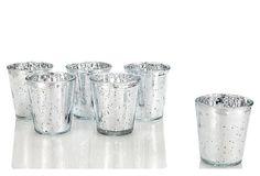 S/6 Mercury Glass Candle Holders Mercury Glass Candle Holders, Candleholders, Candles, Candy, Candle Sticks, Candle