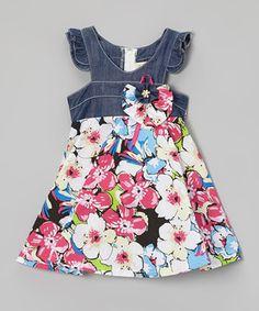 Look at this #zulilyfind! Denim & Pink Floral Dress - Toddler & Girls by the Silly Sissy #zulilyfinds