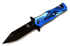 "8"" Blue Falcon Design Spring Assisted Knife Stainless Steel"