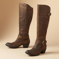 """KYLLI BOOTS--From Born®, buckled boots with plenty of charm. They're made of beautifully finished suede with a smooth finish and a rich patina and they're perfect paired with jeans, dresses and skirts. Canted heel gives them a Western touch and sweeping lines flatter your legs. Imported. 2"""" heel. Whole and half sizes 6 to 10 and 11."""