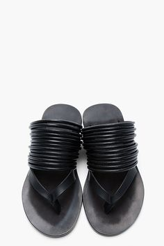 RICK OWENS Black Leather & Cord Sandals
