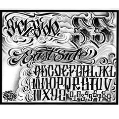 Big Sleeps Tattoo Lettering And Chicano Tattoos Lettering, Tattoo Lettering Design, Graffiti Lettering Fonts, Hand Lettering Alphabet, Graffiti Alphabet, Script Lettering, Typography, Tattoo Script, Chest Tattoo Words