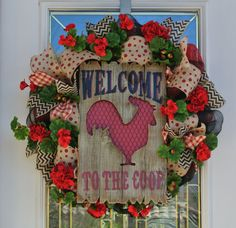 Welcome to the Coop Burlap and Mesh Wreath with Wood Rooster Sign Assorted Ribbons and Geraniums on Etsy, $95.00