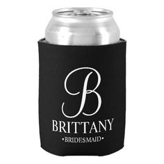 Elegant Black and White Personalized Bridesmaid Can Cooler