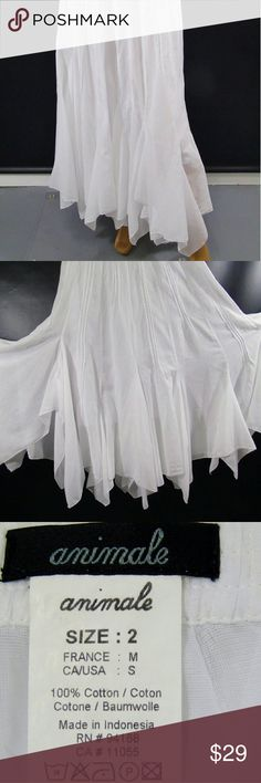 """Handkerchief Skirt Animale French Label Maxi White Handkerchief Skirt. Animale French Label.Maxi Beach Skirt .White , Cotton, Lined, Back Zip.Laid Flat Waist 14"""", Length 39"""" Animale Skirts Maxi"""