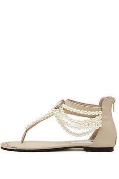 Apricot Beaded Gemstone Casual Thong Sandals #Apricot #Sandals #maykool
