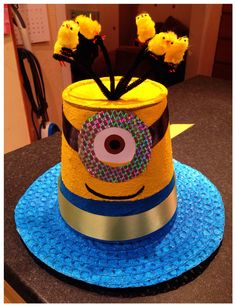 Minion / Despicable Me Easter Bonnet for the St Joseph's Infants (Reception) Easter Bonnet Parade 2015.