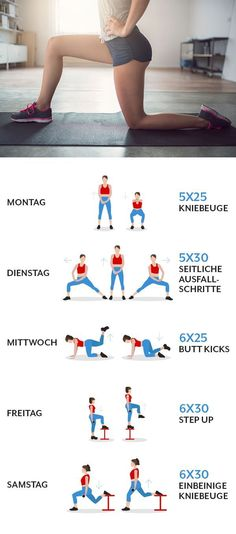 5 Sportübungen, mit denen du die Fettverbrennung anregst - SportDo you want to lose weight for a long time, but can not make it? Then you should do these 5 exercises to boost your fat burning and start losing weight. Then you get a crisper butt and t Yoga Fitness, Fitness Workouts, Fitness Routines, Easy Workouts, Fitness Tips, Fitness Motivation, Health Fitness, Sport Fitness, Fitness Logo