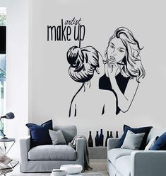 Vinyl Wall Decal Make Up Artist Cosmetic Beauty Salon Stickers Mural Unique Gift What is Makeup ? Makeup Studio Decor, Beauty Salon Decor, Beauty Salon Design, Beauty Studio, Beauty Salons, Hair Salon Interior, Salon Interior Design, Schönheitssalon Design, Makeup Salon