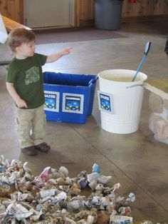 trash sorting bins for all the recyclables and the newspaper crumbles. Harry Birthday, Third Birthday, 3rd Birthday Parties, Birthday Ideas, Garbage Truck Party, Trash Pack, Garbage Recycling, Construction Birthday, Therapy Ideas