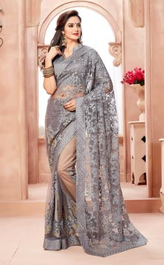 Grey Embroidered Net Saree With Blouse Piece by Trendys shop - Online shopping for Sarees on MyShopPrime - Lehenga Saree, Anarkali, Georgette Sarees, Saree Blouse, Fancy Sarees, Party Wear Sarees, Indian Beauty Saree, Indian Sarees, Indiana