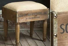 LOVE this -could easily make!! Bottle Crate Footstool - From Antiquefarmhouse.com - http://www.antiquefarmhouse.com/current-sale-events/industrial-decor-solutions/bottle-crate-footstool.html