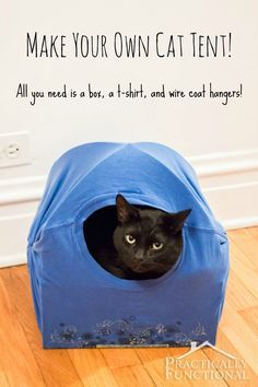 DIY Cat Tent Bed: All you need is a box, a t-shirt, and two wire coat hangers!