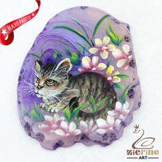 Hand Painted Cat Agate Slice Gemstone Necklace Pendant Jewlery D1705 1977 #ZL #Pendant