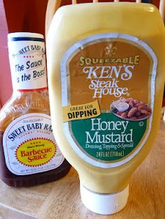 Homemade Chick-fil-A Sauce - 1/2 cup honey mustard dressing and 1 tsp  BBQ sauce!  I KNEW it!  :)