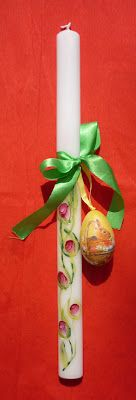 handpainted and decorated Easter candle