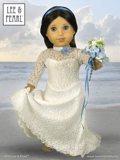 It's her big day! Our American Girl doll makes a perfect June bride wearing a stretch lace gown made using Lee & Pearl Pattern 1055: Skating Dress for 18 Inch Dolls — and the Ice Princess / Bridal / Red Carpet Gown FREE skirt extension pattern. Get the pattern at https://www.etsy.com/listing/179931138/lp-pattern-1055-skating-dresses-for-18 and download your own FREE copy of the gown skirt tweak at http://leeandpearl.com/2014_04_newsletter.html#iceprincess