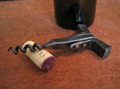HandForged Corkscrew with Brass Rivets by hammeronsteel on Etsy, $100.00