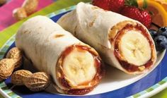 one of my favorite easy snacks. banana, peanut butter and natural jelly in a whole grain tortilla. Delicious!