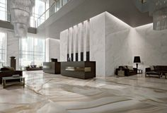 Alabaster marble flooring of shiny ceramic tiles: Alabastri Collection