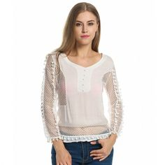 Women Fashion Sexy V Neck Long Sleeve Hollow Patchwork Fringed Blouse Top $8.79 #apparels#blousesandshirts