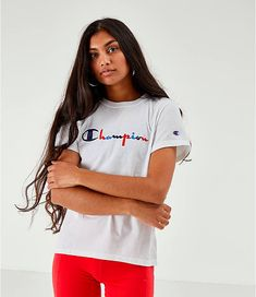 Women's Champion Script Logo T-Shirt Script Logo, Finish Line, Online Purchase, Champion, Product Launch, Crop Tops, Hoodies, Logos, Light Blue