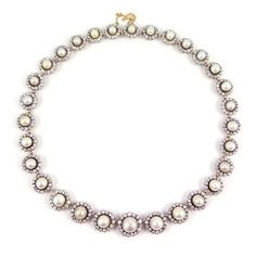 Antique graduated pearl and diamond cluster necklace, c.1895,