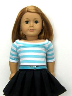 18 inch doll clothes AG doll clothes girl doll clothes aqua/white striped boatneck top and black box pleated skirt