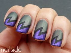 Black + Gray + Purple Glitter Maleficent Inspired Lightning Bolt Mani