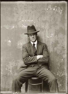 Mug shot of Herbert Ellis. Presumed Central Police Station, Sydney, around 1920