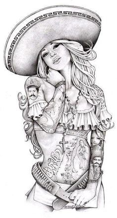 love charra by mouse lopez sexy tattooed chicano woman tattoo canvas art print sexy-latina-woman tattooed-latina-woman sombrero pin-up alternative-artwork Art Chicano, Chicano Tattoos, Sexy Tattoos, Girl Tattoos, Tattoos For Women, 2pac Tattoos, Arte Cholo, Cholo Art, Stretched Canvas Prints
