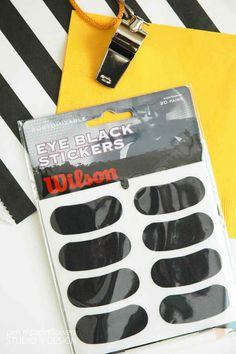 Eye black stickers are the fastest way to get your game face on 31 Genius Super Bowl Party Hacks That Will Make Your Life Easier Flag Football Party, Football Themes, Football Birthday, Sports Birthday, Birthday Party Games, Boy Birthday, Football Party Games, Sports Party Favors, Girl Football