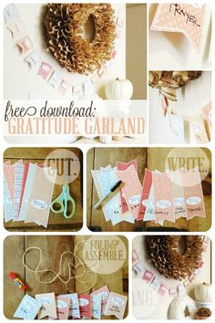 Simple Thanksgiving Craft: Gratitude Garland // Free Download from SomewhatSimple.com #thanksgiving #craft #garland