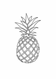 Outline Black And White Image Of A Pineapple Royalty Free