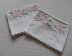 Pair Pillowcases Floral Pink embroidery Standard Size